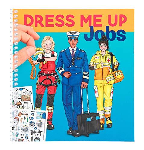 Depesche 11402 Malbuch mit Stickern, Dress Me Up Jobs, mit Berufen, ca. 18,6 x 17 x 1,3 cm