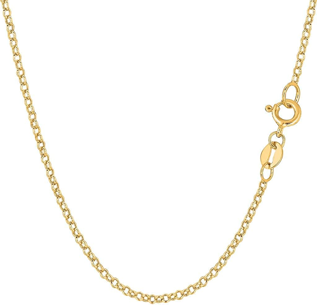 14k SOLID Yellow Gold 2.0mm, 2.3mm, 3.2mm or 4.6mm Shiny Diamond Cut Rolo Chain Necklace Or Bracelet for Pendants and Charms with Lobster-Clasp Or Spring-Ring Clasp (7