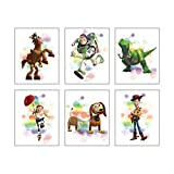 "Watercolor Graffiti Splash Toy Story Art Prints Set of 6 (8""X10""Canvas Picture) Modern Minimalist Nursery Wall Poster Kids Boys Birthday Gift Game Room Decor No Frame"