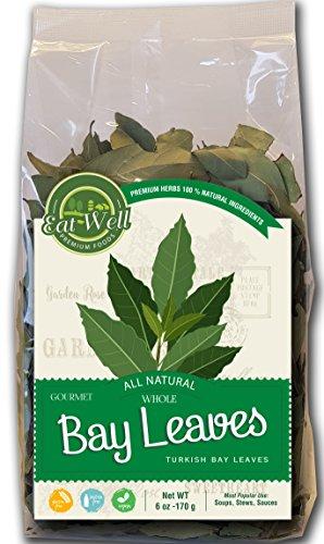 Eat Well Premium Foods - Turkish Bay Leaves Whole 6 oz Bag, Bulk, 100% Natural Dried Bay Leaf