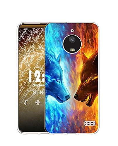 Sunrive Coque Compatible avec Motorola Moto E4, Silicone Étui Housse Protecteur Souple Gel Transparent Back Case(Q Loup 4)+ Stylet OFFERTS