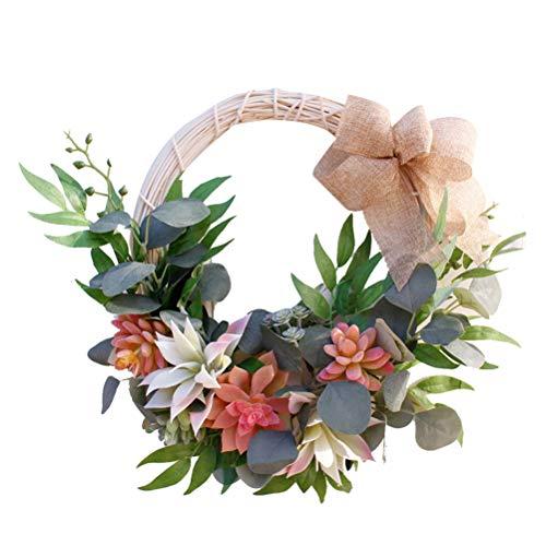 Vosarea Simulazione fatta a mano Succulente Ghirlanda Primavera Verde Ghirlanda per porta d'ingresso Home Office Decor 40cm