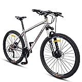 FANG Bicicleta de montaña para adultos, cuadro de acero Hardtail de 27,5 pulgadas, bicicleta con frenos de disco, bicicleta de montaña para hombre y mujer, 27 velocidades