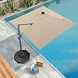 PURPLE LEAF 300 X 300 cm Quadratisch Sonnenschirm mit Solar LED Beleuchtung Gartenschirm...