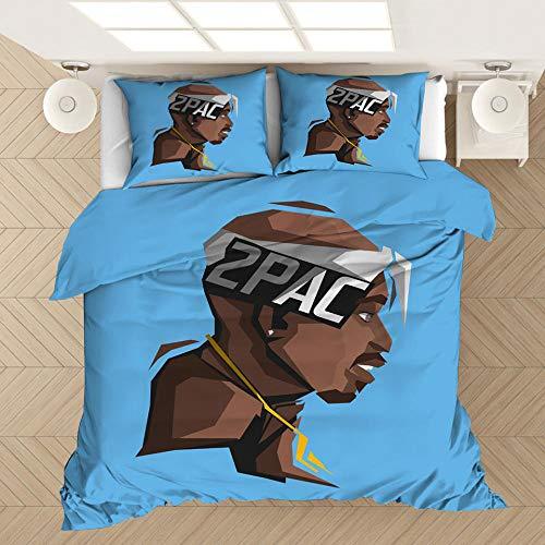 SixyeLiuzhi Rapper Tupac 2Pac 3D Gedruckt Bettwäsche Set Bettbezüge Kissenbezüge Tröster Bettwäsche Set Bettwäsche Bettwäsche,180x210cm(3Stück)