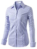 CLOVERY Women's Long Sleeve Slim Fit Button Down Dress Shirt with Plus Size STRIPEWHITEBLUE L