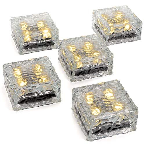 5er Set Solar Glasstein Pflasterstein Bodenleuchte Dekoleuchte mit 4 LED 10 x 10 x 5 cm robustes Milchglas mit Akku & Dämmerungssensor warmweiß