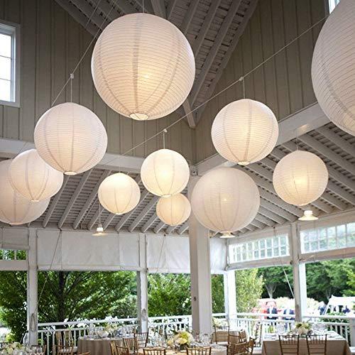 10 Stücke Papierlaterne Laterne Deko Feier Lampions Papierlampen mit 10er Mini LED Lichter (Weiß Lampion + Warmweiß Mini Led-Ballons Lichter, 40cm)