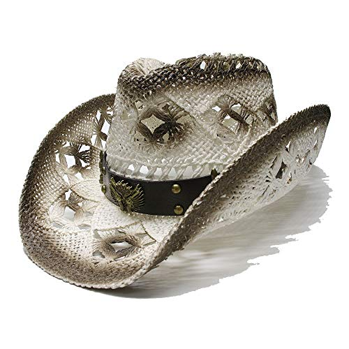 WANGXINQUAN Damen Herren 2019 Sonnenhut Unisex Vintage Wide Brim Stroh Sun Beach Cowboy Cowgirl Westernhut Two Guns Lederband (Farbe : 1, Größe : 56-58CM)