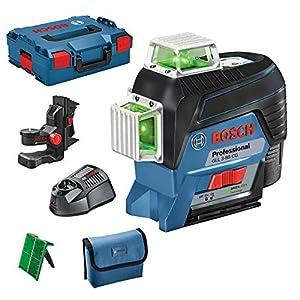 Bosch Professional GLL 3-80 CG Nivel Láser (Láser Verde, conexión Bluetooth, soporte, gama de trabajo: hasta 30m, 1 batería, en L-BOXX), 12 V, Azul