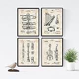 Nacnic Vintage - Pack de 4 láminas con Patentes de Instrumentos Musicales. Set de posters con inventos y patentes antiguas.