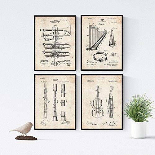 Nacnic Vintage Musikinstrument Patent Poster 4er-Set. Vintage Stil Wanddekoration Abbildung von Konzert und Alte Erfindungen. Verschiedene musikalische Instrumentsteile Bilder ohne Rahmen. Größe A4.