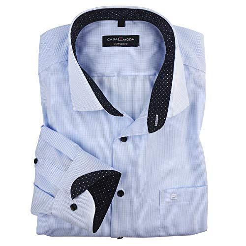 CASAMODA Businesshemd hellblau-weiß fein kariert XXL, Kragenweite:46