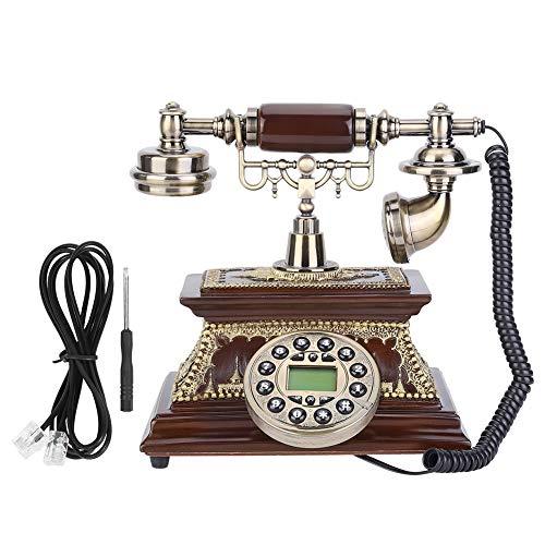 Teléfono Retro - Teléfono de identificación retro vintage de escritorio con pantalla FSK/DTMF para decoración de hotel de oficina en casa