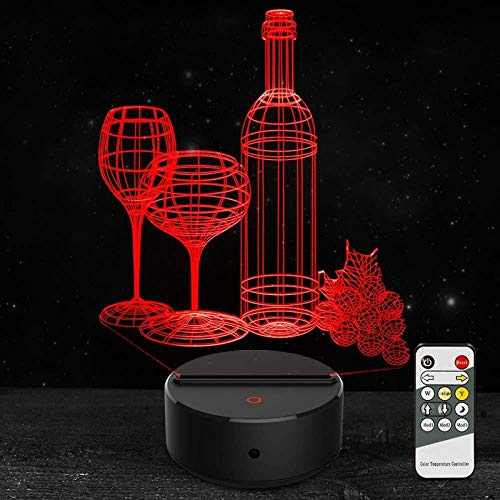 Niños Lámpara Botella De Vino Luces Ilusión 3D Noche Lámpara Led 16 Colores Cambio Touch Con Cable Usb - Aplicación Bluetooth Control Dormitorio Sala