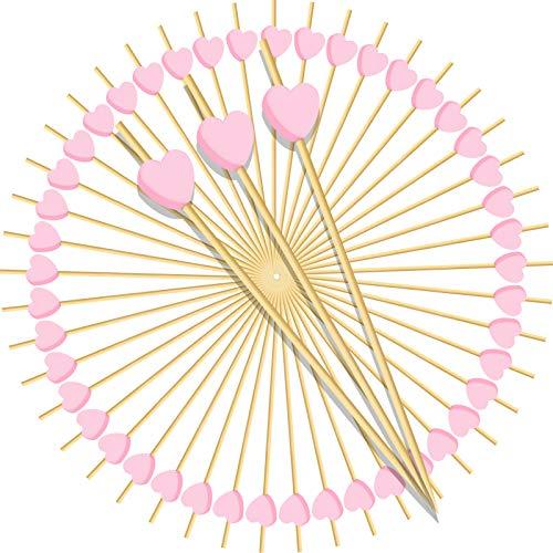 Loyalland 100 Stück Cocktail Sticks, Holz Handgefertigte Zahnstocher Rosa Herz, für Cocktail, Obst Spieß,Lebensmittel,Party, Fingerfood