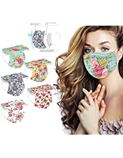50 Pcs Disposable Flower Face_Masks for Adults,Spring Printed Breathable Facemasks with Nose Wire for Gl Wearers,3-ply Protective Face_Mask for Holiday Party Gift