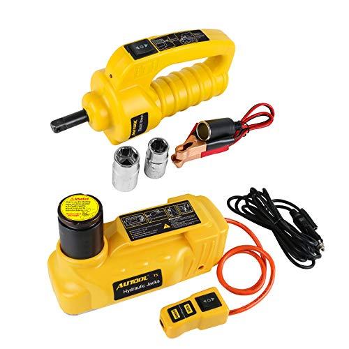 AUTOOL Juego de gato eléctrico universal de 12 V CC 6 T, kit de elevación de neumáticos hidráulico eléctrico con llave de impacto eléctrica para coche, sedán, furgoneta, SUV, camiones