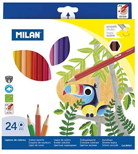 Milan 80024 - Pack de 24 lápices de colores, hexagonales