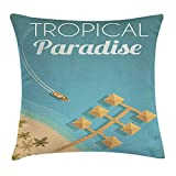 SDLZIJFGHBC Tropical Throw Pillow Cushion Cover, Hawaiian Bungalows with Palm Trees in Paradise Beach Birds Eye View, Decorative Square Accent Pillow Case, 18 X 18 Inches, Blue Grey and Sand Brown