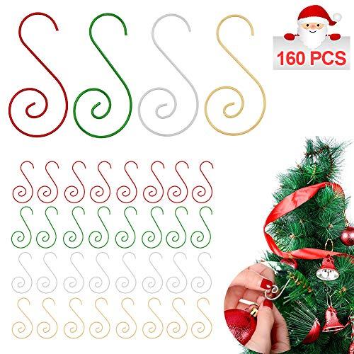 Hushtong 160 Pcs Christmas Ornament Hooks Christmas Tree Ornament Hangers Hooks for Christmas Tree Decorations (Gold,Green, Red, Silver)
