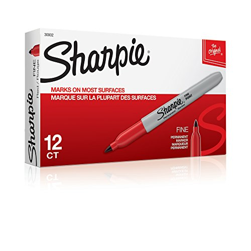 Sharpie 30002 Fine Point Permanent Marker, Marks On Paper and Plastic, Resist Fading and Water, AP Certified, Red Color, Pack Of 12 Markers