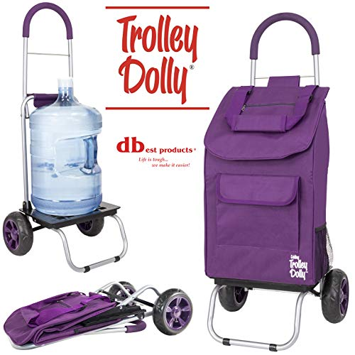 dbest products Trolley Dolly, Purple Shopping Grocery Foldable Cart