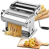 Pasta Machine, EZSOZO Pasta Maker Stainless Steel Manual Pasta Maker Machine with 8 Adjustable...