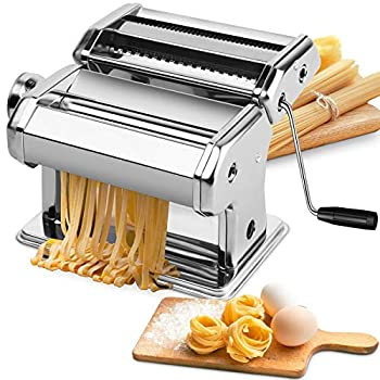 Pasta Machine EZSOZO Pasta Maker Stainless Steel Manual Pasta Maker Machine with 8 Adjustable Thickness Settings 2 Noodle Cutter Suit for Homemade Spaghetti Fettuccini Lasagna or Dumpling Skins