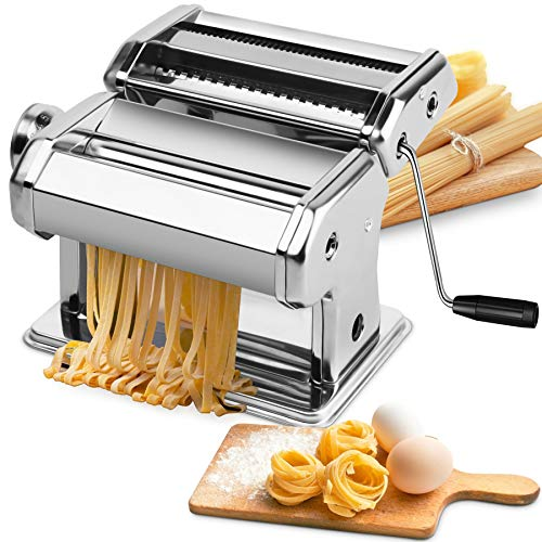 Pasta Machine, EZSOZO Pasta Maker Stainless Steel Manual Pasta Maker Machine with 8 Adjustable Thickness Settings, 2 Noodle Cutter, Suit for Homemade Spaghetti, Fettuccini, Lasagna, or Dumpling Skins