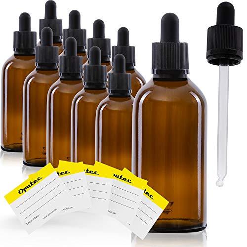 Oputec 10 x 100 ml Pipettenflasche mit Glaspipette + 10 Beschriftungs-Etiketten | Liquid-Flaschen für Flüssigkeiten, E-Liquids | Tropfflaschen Braunglasflasche Glasflasche Apothekerflasche mit Pipette