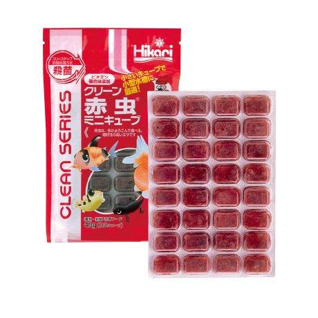 クリーン赤虫 ミニキューブ 40g 1枚 冷凍飼料 キョーリン エサ スリーステップ殺菌・ビタミン含有冷凍フード