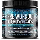 Pre Workout Demon (Blue Raspberry Flavour) - Hardcore pre-Workout Supplement with Creatine, Caffeine, Beta-Alanine and Glutamine (Regular - 306 Grams | 40 Servings)