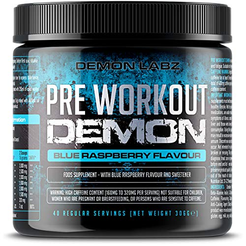 Pre Workout Demon (Blue Raspberry Flavour) - Hardcore pre-Workout Supplement with Creatine, Caffeine, Beta-Alanine and Glutamine (Regular - 306 Grams | 40 Servings)