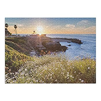 San Diego California - Sunset at La Jolla Cove Beach  19x28.5 inches Premium 1000 Piece Challenging Jigsaw Puzzle for Adults and Family Made in USA