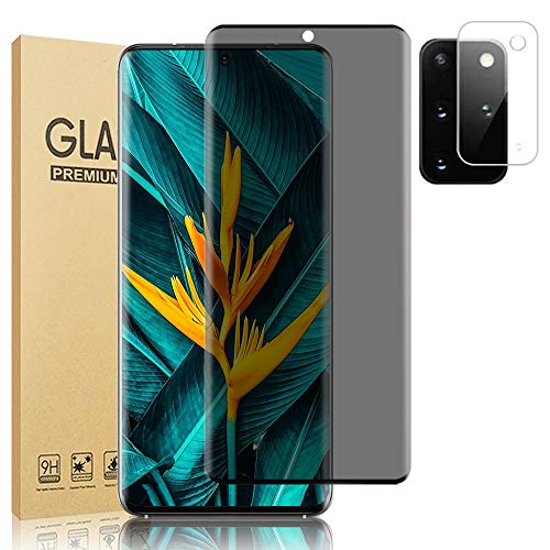 "[1+1] Galaxy S20 Plus 5G Privacy Screen Protector, with Camera Lens Protector, 9H Tempered Glass Anti-spy Anti-glare Anti-fingerprint Full Coverage Glass Screen HD Film for Samsung Galaxy S20+ (6.7"")"