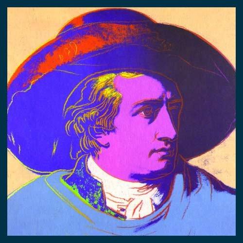 Bild mit Rahmen Andy Warhol - Goethe red face - Holz blau, 66 x 66cm - Premiumqualität - Klassische Moderne, Amerikanische Kunst, Pop Art, Portrait, People & Eros, Persönlichkeiten - MADE IN GERMANY - ART-GALERIE-SHOPde