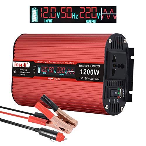 imoli 1200W/2400W inversor de Corriente, DC 12V a AC 220V Convertidor automotriz con Pantalla LCD, 2 Puertos de Carga USB y tomacorrientes de CA universales Transformador de Voltaje