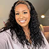 Headband Wigs for Black Women Curly Hair 20 Inch Headband Wigs Synthetic Hair Wavy Deep Wave Wig with Headbands Attached 180% Density Long Black Wig Loose Deep Wave Wigs Synthetic Headband Wig
