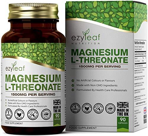 Ezyleaf Magnesium L-Threonate 1500mg | 90 Vegane Kapseln | L Threonat Tabletten fur Schlafqualität | Ohne GVO, Gluten & Milch | Hergestellt ISO-Zertifizierten Betrieben in GB