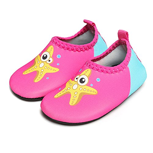 JIASUQI Baby Girls and Boys Summer Barefoot Water Skin Shoes Beach Sandals for Pool River,Starfish Rose 0-6