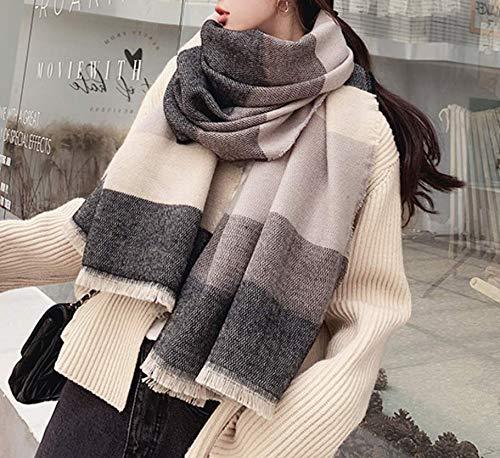 Meerkleurige sjaal van kasjmier, warme en wilde sjaal met dubbel gebruiksdoel, herfst en winter, ruiten, kaki zwart