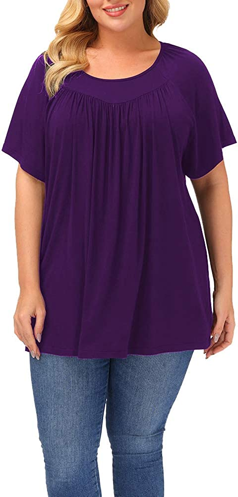 Gboomo Women's Plus Size Tops Short Sleeve Pleated Tunics Flowy Round Neck T Shirts