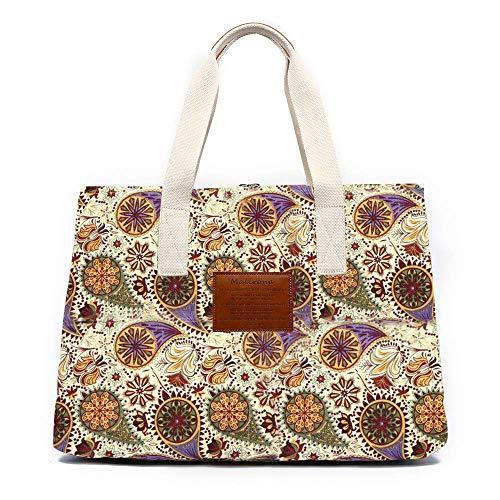 Malirona Women Ladies Canvas Large Capacity Multi-Pocket Tote Shoulder Bags Bohemian Flower Design (Green Flower)