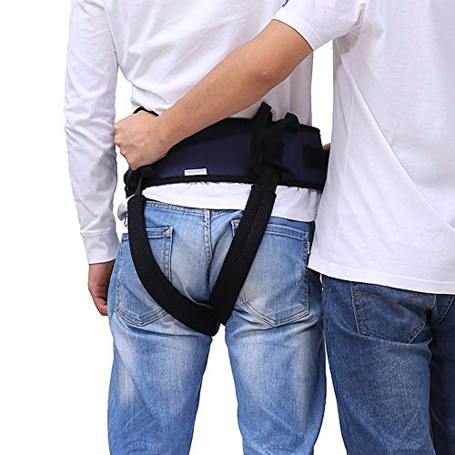 Gait Gürtel Transfergurt mit Beinschlaufen, medizinische Hilfe für Patienten, gibt Sicherheit beim Laufen, ambulante Hilfe (Blau)