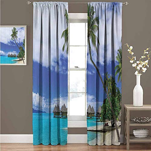 Tropical Decor For bedroom blackout curtains Over-Water Bungalows Of Tropical Resort Bora Bora Island Pacific Ocean Panorama Blackout curtains for the living room W72 x L72 Inch Green Blue White