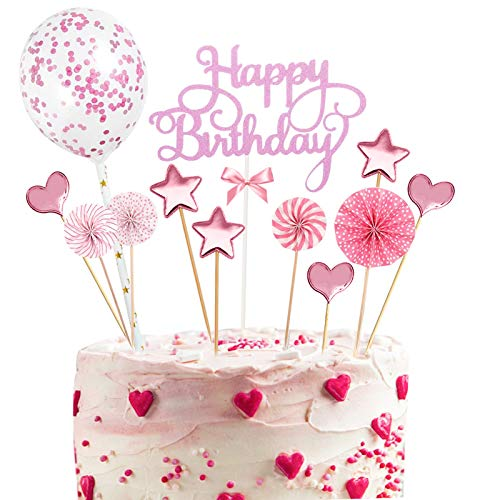 12PCS Cake Topper Happy Birthday, Glitter Cake Topper, Kuchendekoration Geburtstag, Tortenaufsatz, Tortendeko, Tortenstecker Geburtstag, Kuchendeckel, Cupcake Topper Babyparty Topper(Rosa)