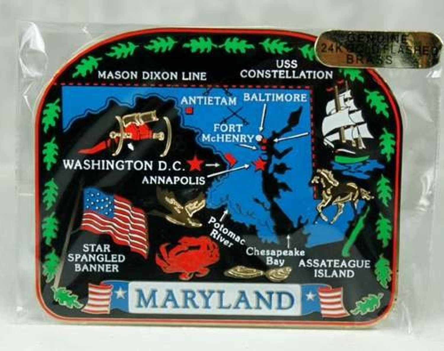 mejor oferta Maryland State MAGNET MAGNET MAGNET Souvenir Gift Baltimore Annapolis Assateague Island + More by Nations Treasures  tienda en linea
