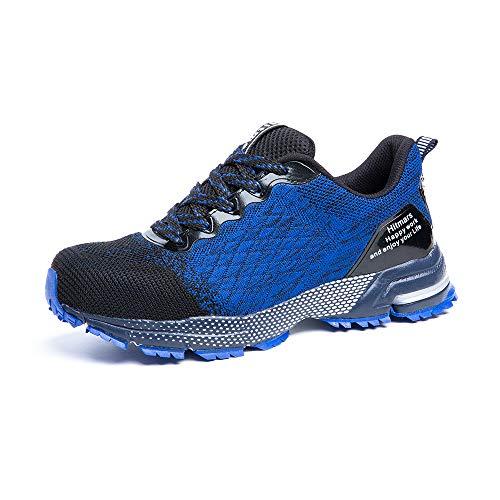 Zapatos de Seguridad para Hombre Zapatillas Deportivas de Mujer Puntera de Acero Calzado de Industrial Trabajo Construcción Botas Tácticas Trekking G Azul EU39