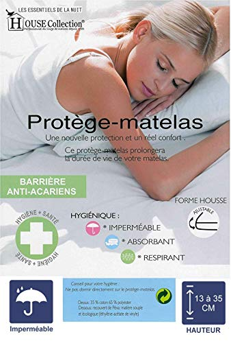 Literie Julien 2X Protèges Matelas 130x190 Imperméable - Hygiènique - pour Matelas de 13 à 35 cm de Hauteur - Absorbant et Respirant - Barrière Anti-Acariens